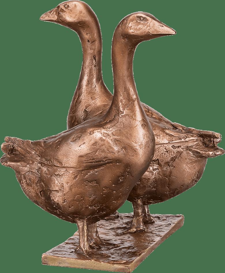 Bronzefigur Gänsepaar von Hans Nübold