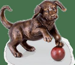 Bronzefigur Hund mit Ball von Atelier Strassacker