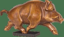 Bronzefigur Bulle & Bär im Rad von Jagna Weber