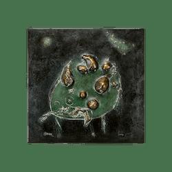 Bronzerelief »Stillleben mit Birnen« von Nikolaus-Otto Kruch