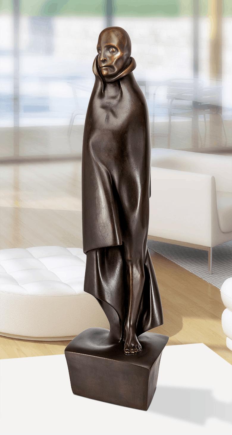 Bronzefigur Mensch mit Mantel von Giovannie de Angelis