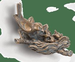 Bronzeskulptur Vogel - Finkennest