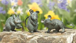 Bronzefigur 3 Mäuse als Set von Atelier Strassacker