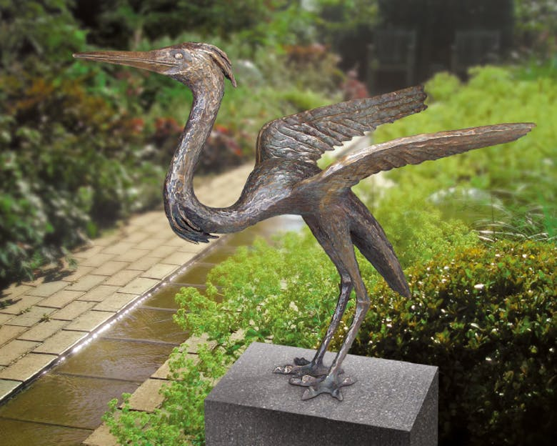 Bronzefigur Reiher von Ernst Günzkofer