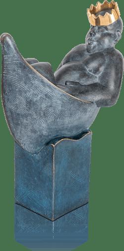 Bronzefigur Mann im Boot von Stefan Donhauser