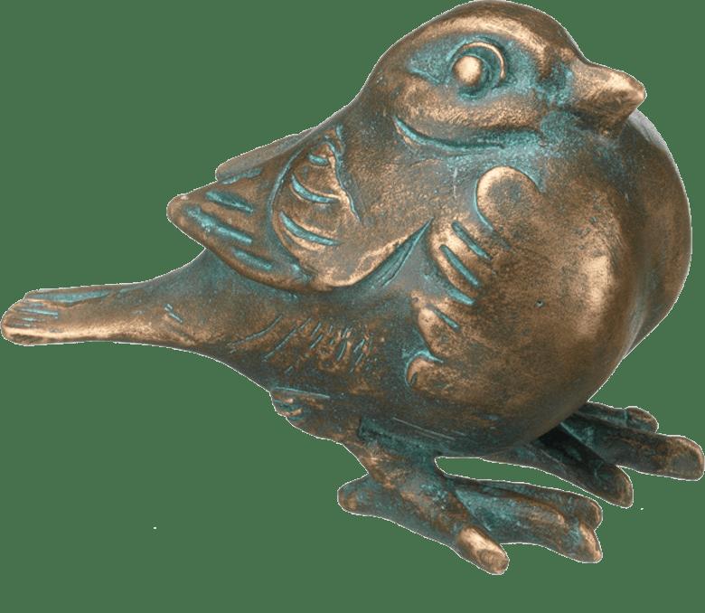 Bronzefigur Spatz, ruhend von Atelier Strassacker