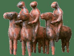Bronzefigur Reitergruppe von Hermann Schwahn