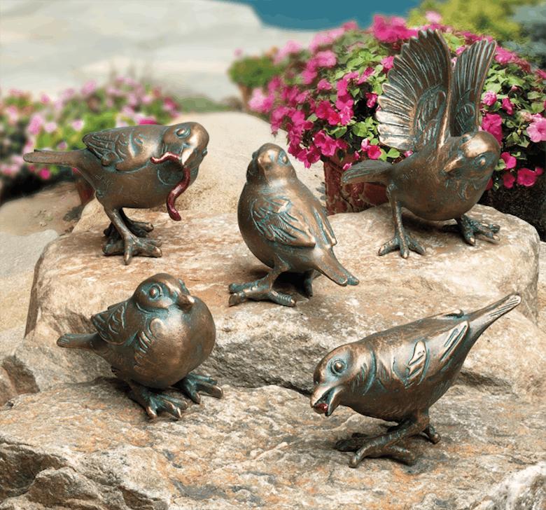 Bronzefigur Spatzen im 5er-Set von Atelier Strassacker