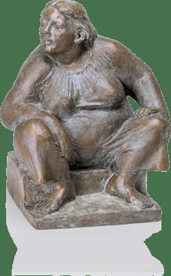 Bronzefigur Hockende von Friedhelm Zilly