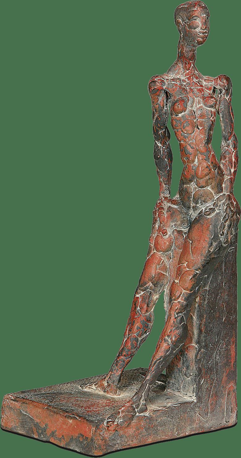Bronzefigur Evas Rast im Schnee von Martin Pottgiesser