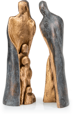 Bronzeskulptur-Familie