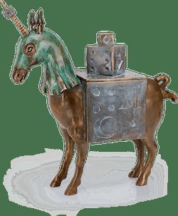 Bronzefigur Unicorn Box von Agnès Boulloche