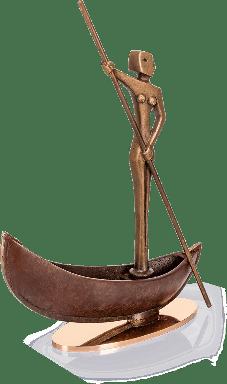 Bronzefigur Wassergöttin auf Barke von Heinz Rupp