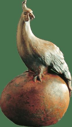 Bronzefigur Fasan auf Ei von Sigrid Stöcker