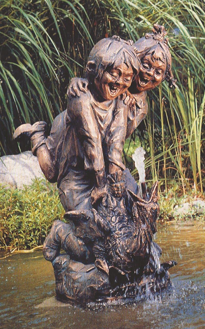 Bronzefigur Zwei Kinder auf Gans von Frido Graziani