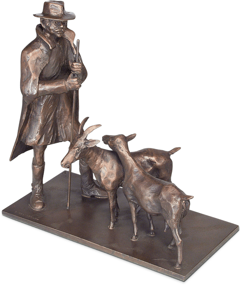 Bronzefigur Hirte mit Ziegen von Ingo Koblischek