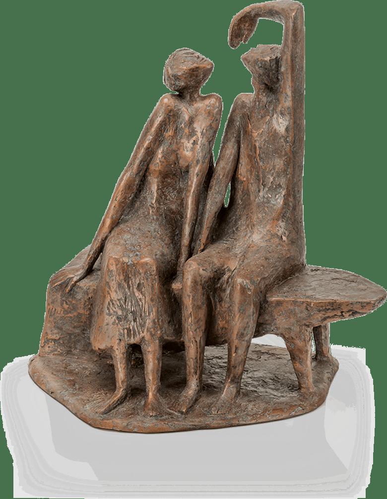 Bronzeskulptur-Paar-auf-Bank