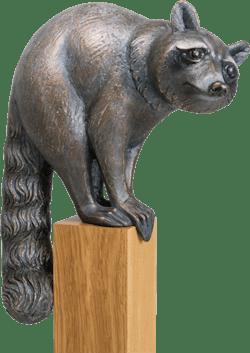 Bronzefigur Waschbär,  schauend von Atelier Strassacker