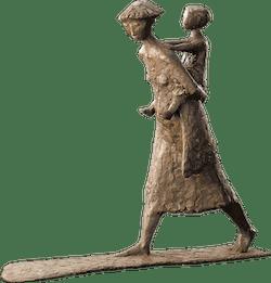 Bronzefigur Huckepack von Manfred Welzel