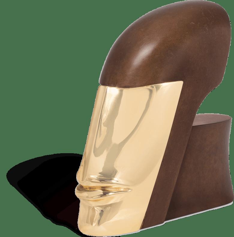 Bronzefigur Kopf mit Maske von Günther Stimpfl
