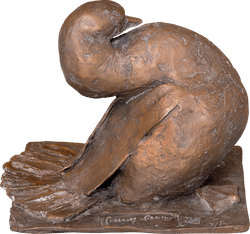 Bronzefigur Sitzende Ente von Gotthelf Schlotter