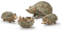 Igelfamilie aus Bronze im Set