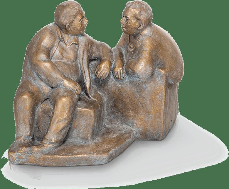 Bronzefigur Dialog von Friedhelm Zilly