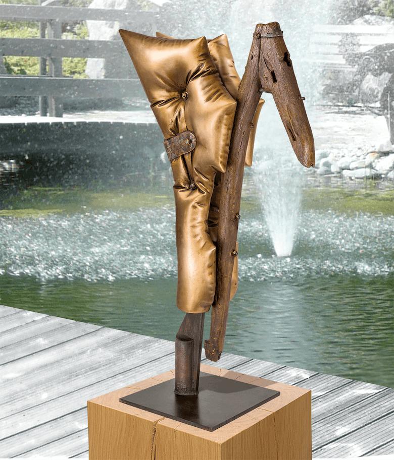 Bronzeskulptur - La Charrue Angélique 1